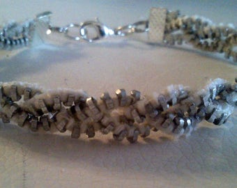 Braided bracelet silver zipper
