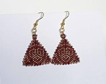 Triangle peyote earrings beads miyuki