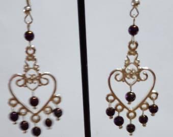 Hearts and pink fuchsia Hematite earrings genuine