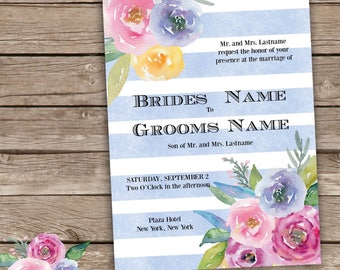 Blue Striped Floral Wedding Invitation