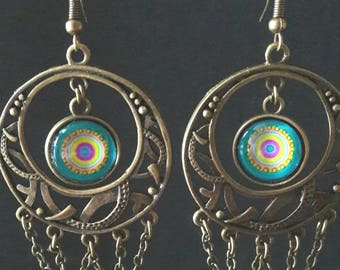 oreillesbronze earrings and blue cabochon