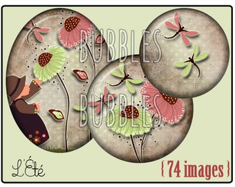 Digital collage sheets - Drangonfly Printable Images for Jewelry Making