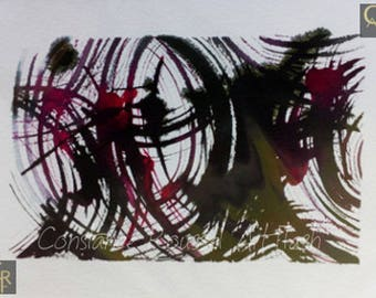 Abstract black and Red graf 2 watercolor