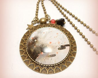 "Necklace glass Cabochon ""Twilight in the land of the sun rising"""