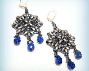 """Earrings beadwoven """"Stars in blue!"""""""