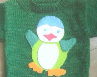 Penguin 3 month baby sweater