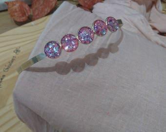 Headband 5 cabochon multicolor Pearl