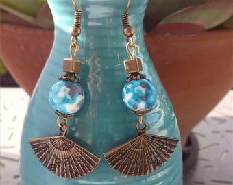 Ocean blue/white/grey jade beads and bronze fan earrings