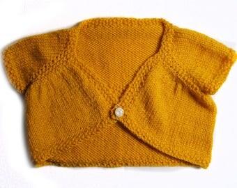 Little bolero handmade yellow saffron, wool mohair acrylic