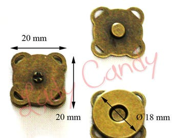 5 snaps, magnetic clasp for bags, purses #330082 brass