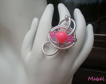 Bright aluminum wire silver plated, adjustable, unique, wedding rose ring