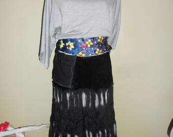Recycling skirt and top, black, silver. tie sash