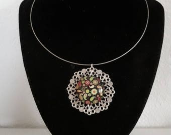 """""""flower"""" cabochon and silver necklace"""