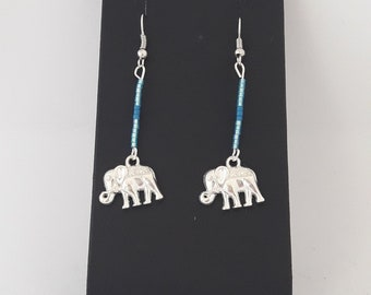 Stud Earrings beads miyuki and elephant charm