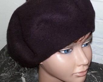 Wool beret sheer chocolate brown