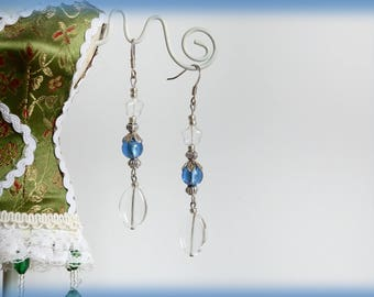 """Earrings long silver """"Ocean"""" blue and translucent glass beads"""