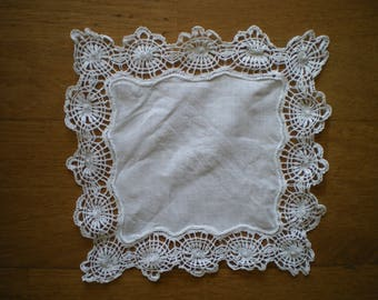 square Baptist lined lace doily