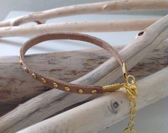 Gold studded suede bracelet