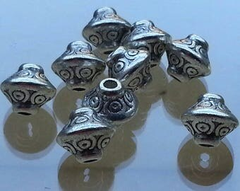 5 dividers separators, spacer beads, antique silver lead free, 6.5 mm, hole: 4 mm