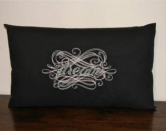 "Romantic cushion embroidered ""Dream"" rectangle cover 30 x 50 cm"