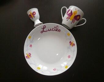 "Personalized Dinnerware porcelain painted ""butterflies & flowers entrelats"""