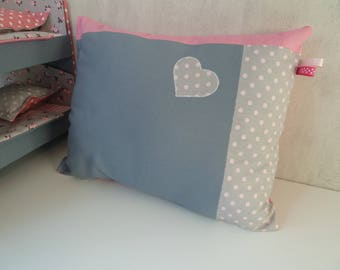 Pink and gray girly patchwork pillow for girl