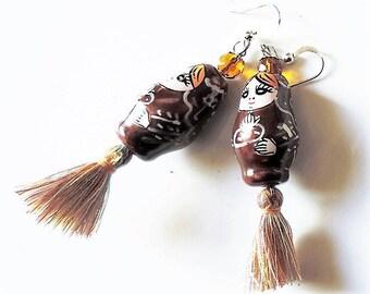 Earrings matryoshka Brown tassel