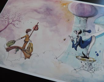 "illustration - Print - watercolor - A4 - child and the King's Butler - ""The imaginary world of Martin"" - 3"
