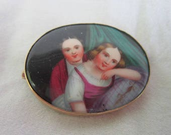 19th C Antique French Portrait Painting on Porcelain set in 8 K Gold Brooch