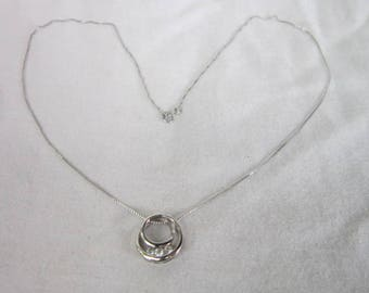 10 K Solid White Gold Chain Necklace with 10 K White Gold & Diamond Circle Pendant