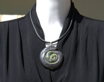 """""""Log"""" ceramic ring and necklace"""
