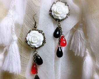Bohemian earring white rose