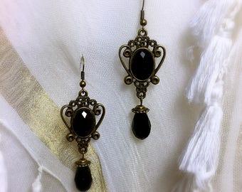 Black Bohemian vintage bead earring