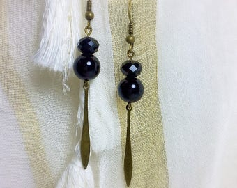 Earring Pearl black Bohemian