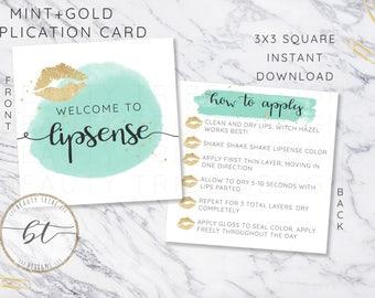Lipsense Application card design MINT+GOLD - distributor - branding - packaging