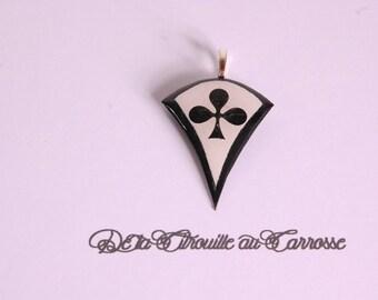 Black and white clover pendant