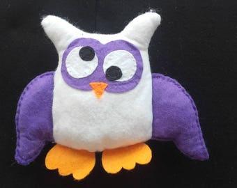 Purple and white felt OWL plush