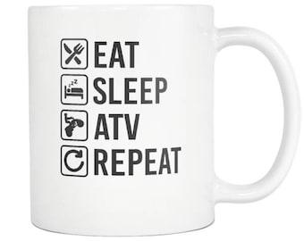ATV Quadbike Mug , ATV Quadbike Gift, Eat Sleep Repeat Coffee Tea Cup
