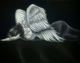 black and white Angel woman lying 13 x 17