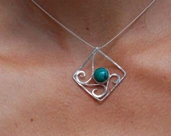 chrysocolla, elven inspired Sterling Silver Pendant
