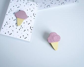 Ice-cream cone glitter leather brooch