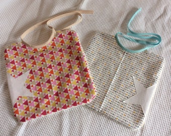 Bibs girl boy star and geometric pattern