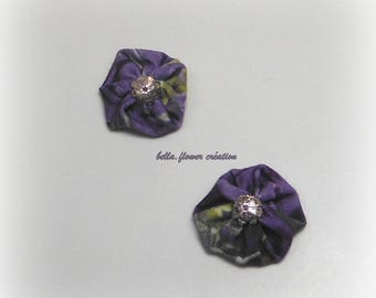 Interleave for creation flower printed purple/green 3.5 cm