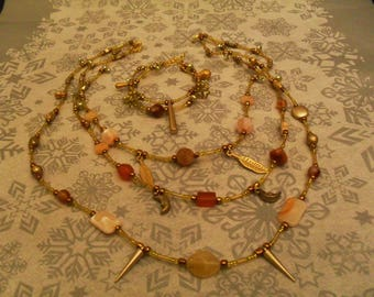 (necklace and bracelet) stylish and original adornment (gold, Brown)