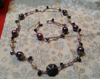 set (necklace and bracelet) fine, classy, modern (purple and silver)
