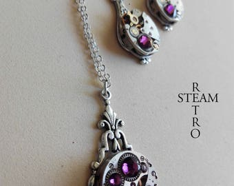 Steampunk jewelry set in Amethyst - Christmas gift - gift for her