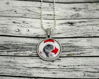 Personalized Christmas cat cabochon necklace jewelry