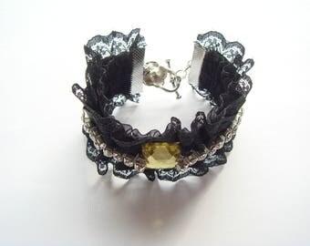 lace yellow rhinestone Cuff Bracelet