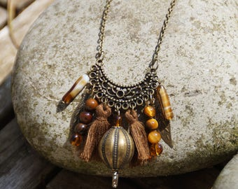 Bohemian necklace in shades of Brown