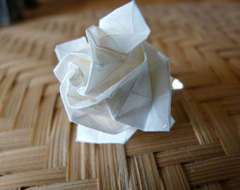 Mother of Pearl ivory paper rose origami ring